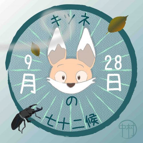 title image to the post featuring a cartoon fox face in a circle with the date and a beetle going across